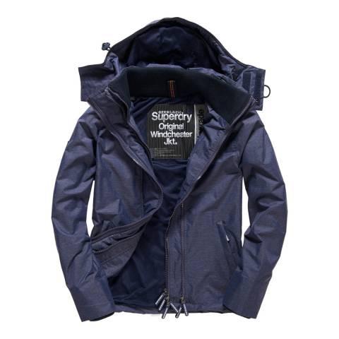 Superdry Navy Tech Hood Pop Zip Windcheater Jacket