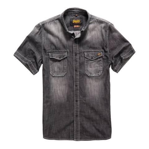 Superdry Blue Biker Slim Short Sleeve Shirt