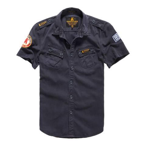 Superdry Navy Hyrbid Army Cops Short Sleeve Shirt