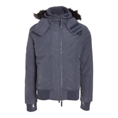 Superdry Navy Mircofibre Fur Hood Windbomber Jacket