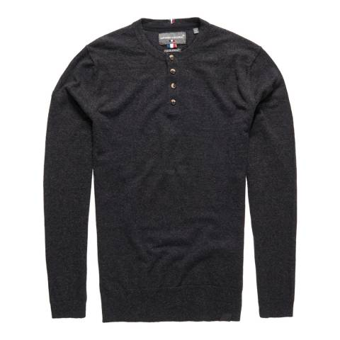 Superdry Grey Cotton Cashmere Grandad Top
