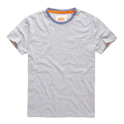 Superdry Blue/Cream Stripe Workwear Pocket Tee