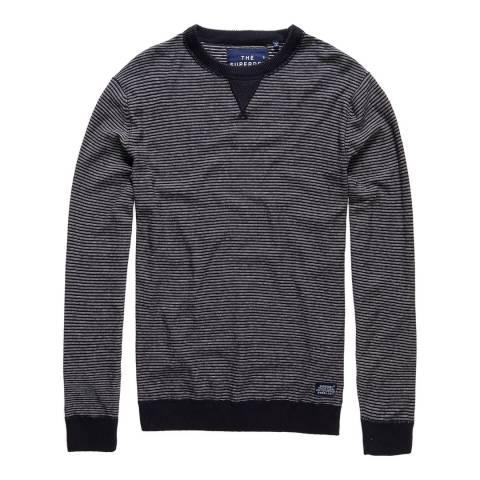 Superdry Navy/Cream Gymnasium Striped Crew Sweatshirt