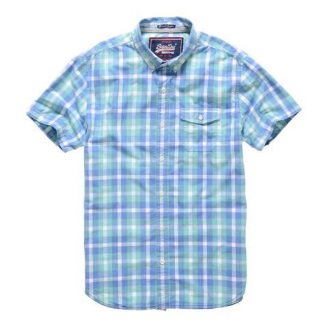 Superdry Blue/Multi Check Washbasket Short Sleeve Cotton Shirt