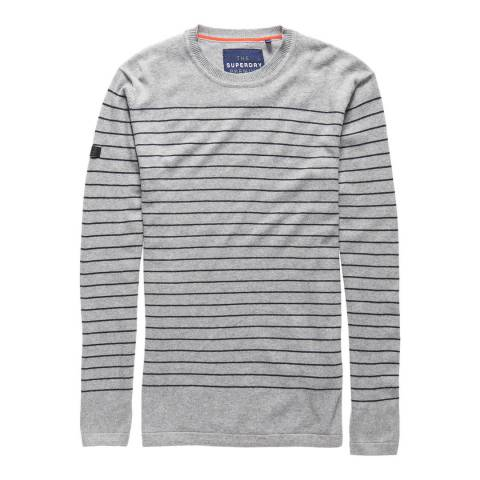 Superdry Grey/Navy Orange Label Stripe Crew Top