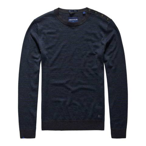 Superdry Blue Call Sheet Merino Striped Crew Jumper