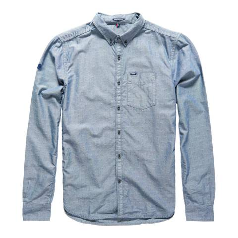 Superdry Blue Dobby Indigo Loom Oxford Cotton Shirt