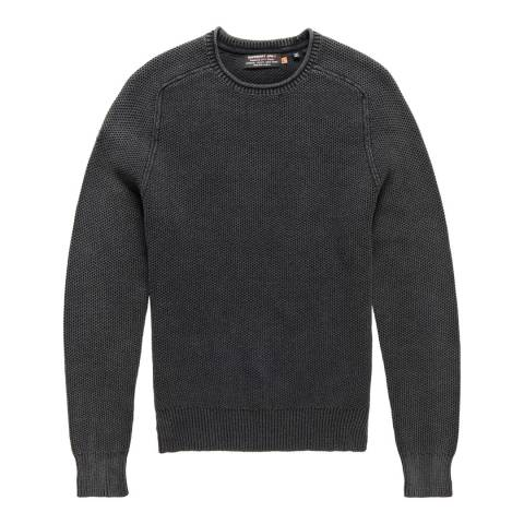 Superdry Black Garment Dyed LA Textured Crew Top