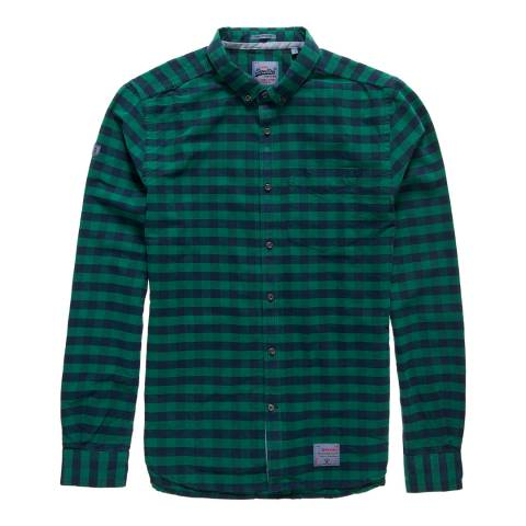 Superdry Green Check Ultimate Pinpoint Oxford Cotton Shirt