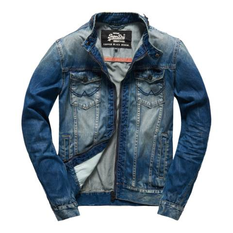 Superdry Indigo Denim Biker Jacket