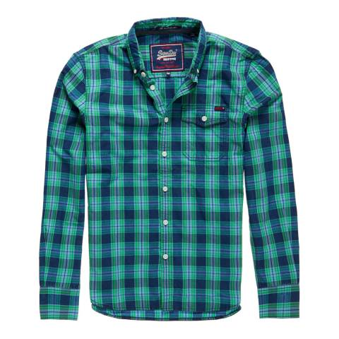 Superdry Green/Navy Washbasket Button Down Cotton Shirt