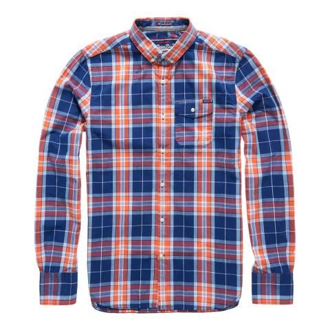Superdry Orange Check Washbasket Button Down Shirt