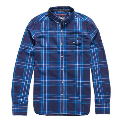 Superdry Navy Check Washbasket Button Down Shirt