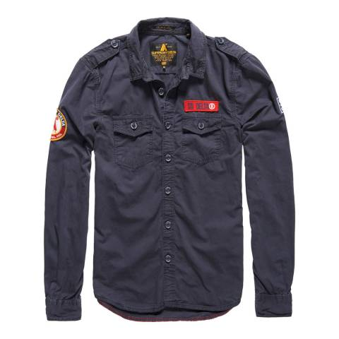 Superdry Navy Ultra Light Army Corps Cotton Shirt