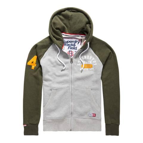 Superdry Grey/Khaki Trackster Baseball Zipped Hoodie