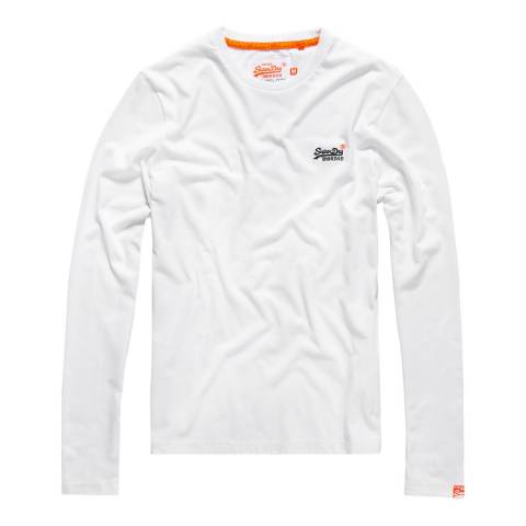 Superdry White Vintage Logo Long Sleeve Tee