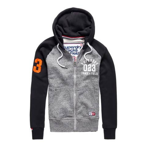Superdry Grey/Black Trackster Baseball Zipped Hoodie