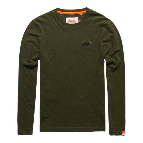 Superdry Khaki Vintage Logo Long Sleeve Tee