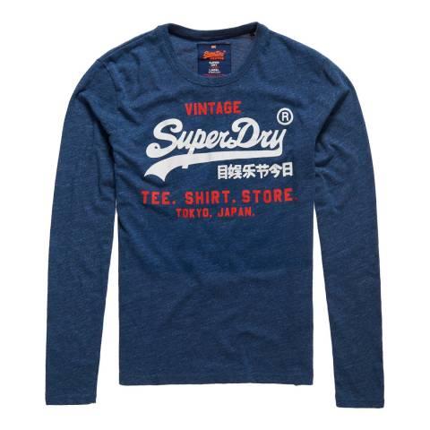 Superdry Navy Shirt Shope Long Sleeve Tee
