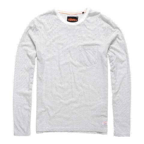 Superdry White/Blue Lite Loom City Stripe Long Sleeve Tee