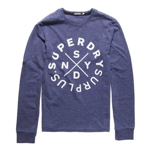 Superdry Blue Surplus Goods Long Sleeve Graphic Tee