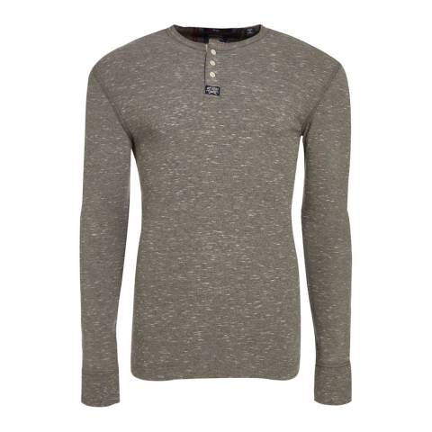 Superdry Grey Heritage Long Sleeve Grandad Top