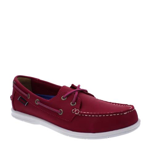 Sebago Women's Red Leather Litesides Two Eye Boat Shoes