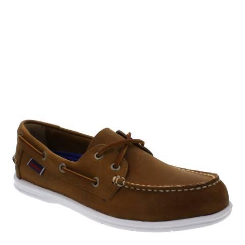 Sebago Women's Brown Leather Litesides Two Eye Boat Shoes