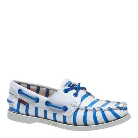 Sebago Women's White And Blue Stripe Spinnaker Boat Shoes