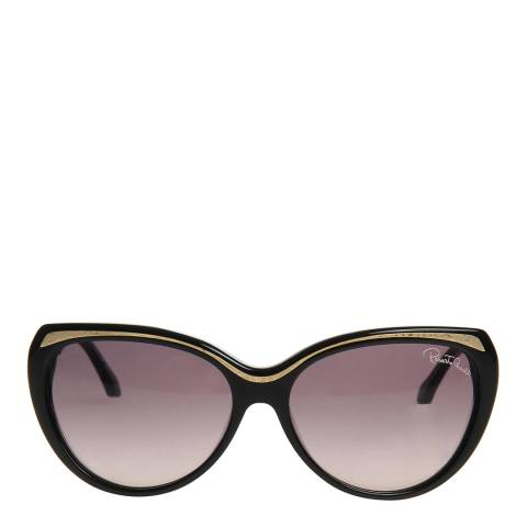 Roberto Cavalli Women's Shiny Black/Gold Roberto Cavalli Sunglasses 59mm