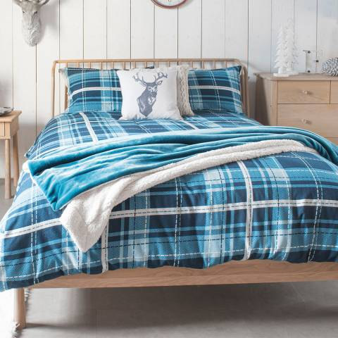 Gallery Oban Check Single Brushed Cotton Duvet Cover, Ink/Teal