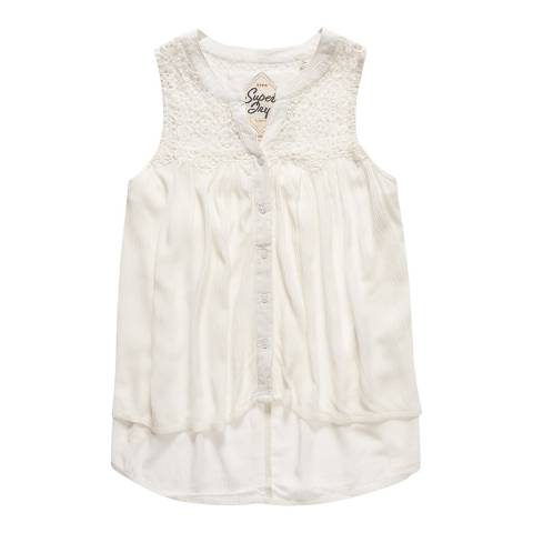 Superdry Off White Boho Lace Button Blouse