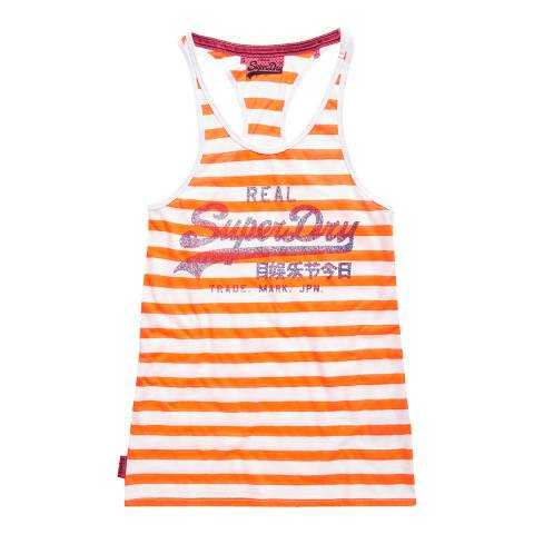 Superdry Optic/Phosphorescent Coral Vintage Logo Stripe Vest