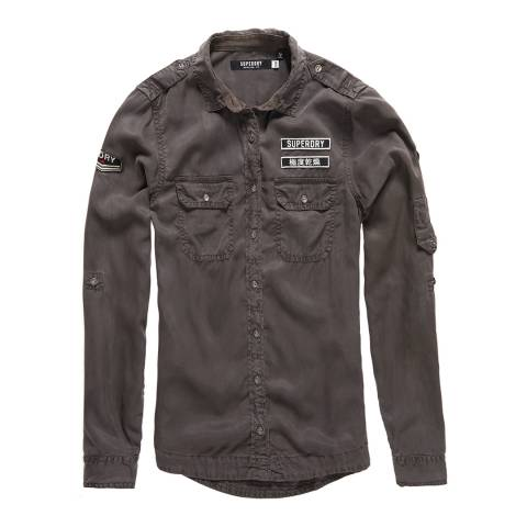 Superdry Washed Black Military Shirt