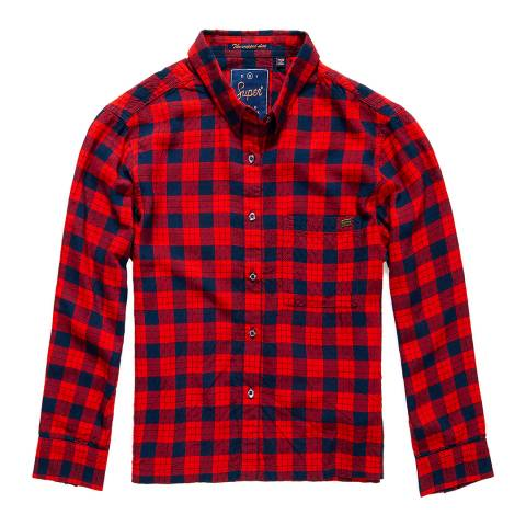 Superdry Red Flare Check Crop Check Shirt