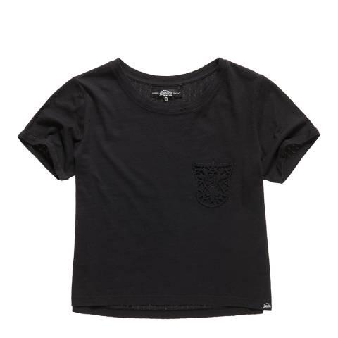 Superdry Black Lace Pocket Crop T-Shirt