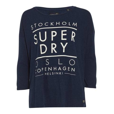 Superdry Canyon Blue Nordic Slouch Crew Neck