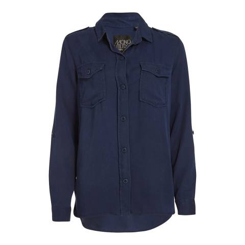 Superdry Washed Navy Pheonix Utility Button Shirt