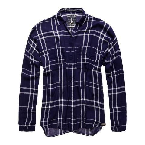 Superdry Navy Mariner Check Mariner Check Bf Shirt