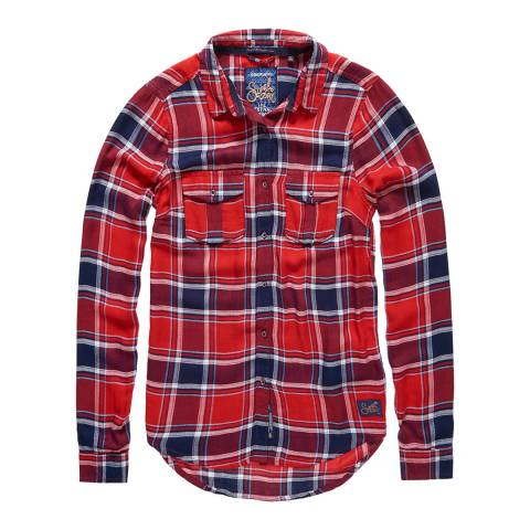 Superdry Gilford Check Red Nashville Boyfriend Check Shirt