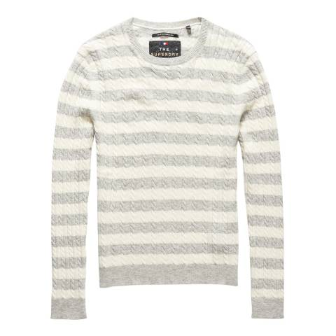 Superdry Grey Marl/Cream Luxe Mini Cable Stripe Knit