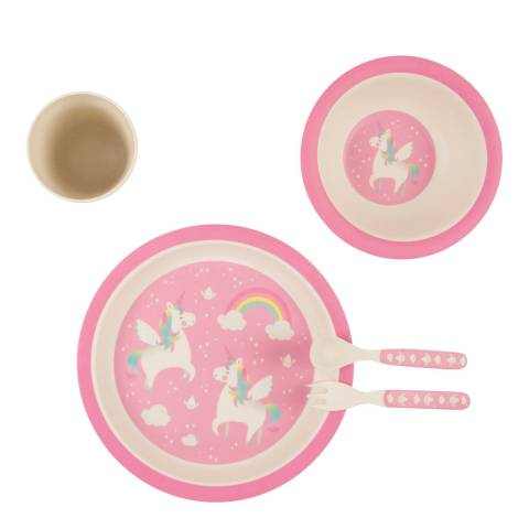 Sass & Belle Rainbow Unicorn Bamboo Tableware Set