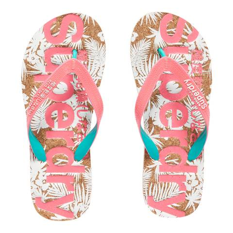 Superdry Fluro Pink/Fluro Turq/Optic PRINTED CORK FLIP FLOP