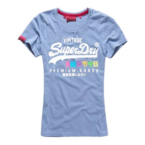 Superdry Foam Blue Premium Goods Rainbow T-Shirt