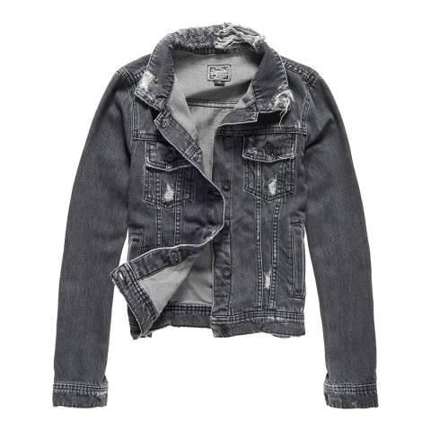 Superdry Stone Black Girlfriend Denim Jacket