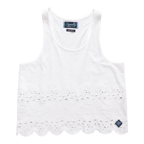Superdry Optic White Beach Broiderie Shell Top