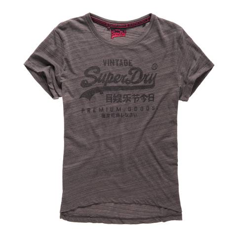 Superdry Dark Marl Jersey Injected Black Premium Goods T-Shirt