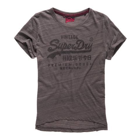 Superdry Dark Marl Jersey Injected Black Premium Goods T-Shirt