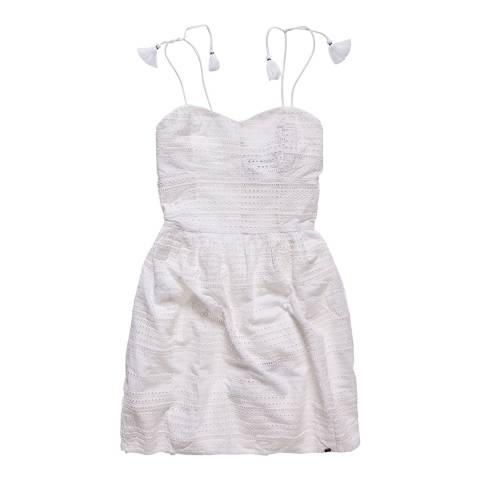 Superdry Optic White 50'S Tassel Tie Dress