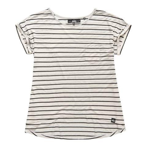 Superdry Ecru/Black stripe Scoop Hem T-Shirt